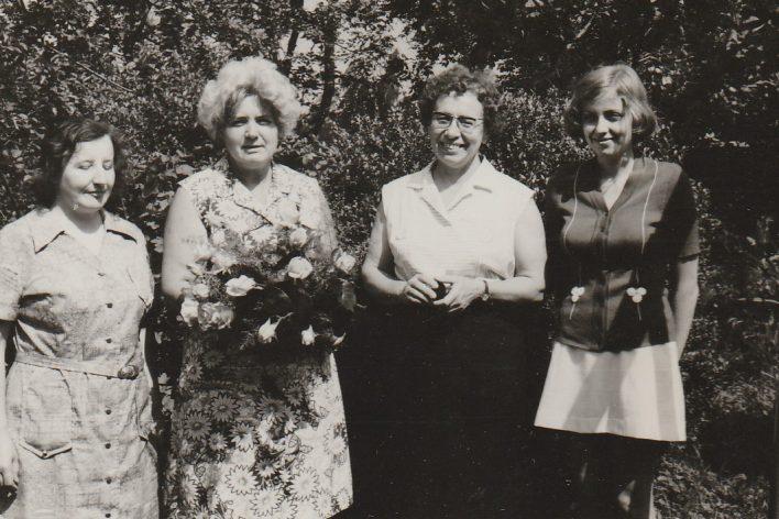 Kolektiv knihovnic v 70. letech 20. století, Zdenka Dvořáková, Jitka Jsenská, Václava Gregorková, Marie Flajšarová.